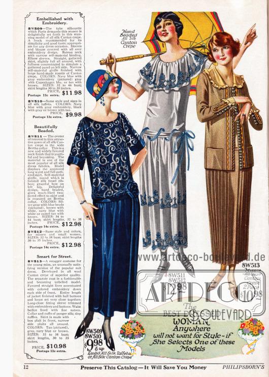 """Doppelseite mit Damenkleidern aus besticktem Seiden-Taft, Seiden Krepp, Woll-Krepp, Tussahseiden Krepp, kariertem Woll-Velours und bedrucktem Tussah- und Seiden-Shantung. Die röhrenartige Linie des vorigen Jahres hat nun Eingang in die Frühjahrsmode 1924 gefunden. Das dritte Modell ist ein Kostüm mit kurzer Jacke und Plisseerock, dass mit den Worten """"a swagger costume fot the young miss"""" (dt. """"ein stolzes Kostüm für die junge Dame"""") beworben wird. Das sechste Modell ist ein Tunikakleid, das seinen zierenden Abschluss in einem Gürtel findet, der zu einer großen Schleife gebunden ist."""