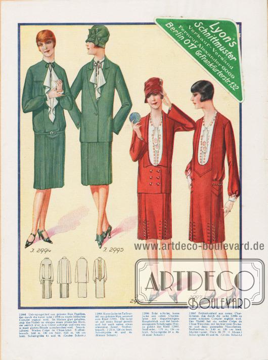 2994: Übergangskleid aus grünem Rips-Papillon, das durch die kurze Jacke J 2995 zu einem hübschen Complet ergänzt wird. Im Rücken glatt gehalten, zeigt das Modell im übrigen einen plissierten Rock, der seitlich über dem Gürtel aufsteigt und vorn von je einer glatten Blende unterbrochen wird. Smocknäherei. Weißes Crêpe de Chine-Jabot. 2995: Kurze Jacke im Tailleurstil aus grünem Rips, passend zum Kleid J 2994. Die Jacke ist auf einen Knopf gestellt und hat nach unten etwas erweiterte Ärmel. 2996: Sehr schicke, kurze Jacke aus rotem Charmelaine mit doppelreihigem Knopfschluß und tief herabgezogenem Schalkragen. Hierzu gehört das Kleid J 2997. 2997: Frühjahrskleid aus rotem Charmelaine, das durch die Jacke J 2996 zu einem schicken Complet ergänzt wird. Das Modell hat ein weißes Crêpe de Chine Westchen mit leichter roter Stickerei und dazu passenden Manschetten.  Oben rechts ein grün-weißer Aufkleber für Lyon's Schnittmuster: Verkauf-Versand, Fernruf Alexander 6069, Berlin O 17, Gr. Frankfurterstr. 132.