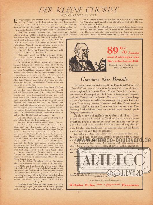 """Artikel: Reuter, Gabriele (1859-1941), Der kleine Chorist.  Werbung: """"89 % Aerzte sind Anhänger der Brotella-Darm-Diät. (Ergebnis einer Rundfrage von Prof. Dr. Gewecke.)"""", Wilhelm Hiller, Chem. u. Nahrungsmittel-Fabrik Hannover."""