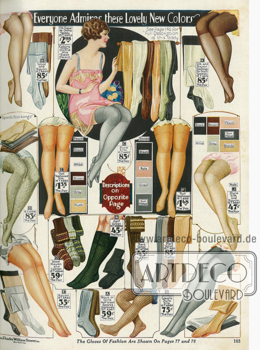 """Damenstrümpfe aus Seide und Rayon in """"neuen Farben"""". Auch Socken und Kniestrümpfe für Kinder und Damen sind im Winter unabdingbar."""