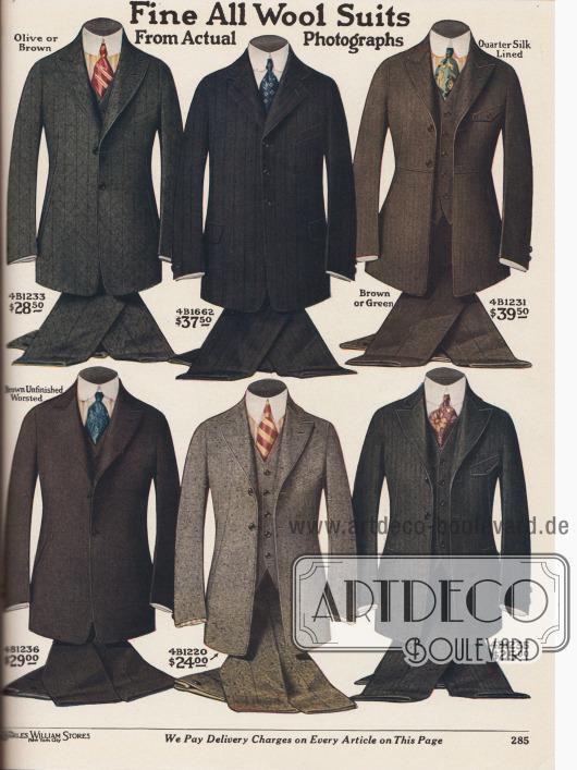 """""""Feinste Anzüge aus reiner Wolle in echten Fotografien"""" (engl. """"Fine All Woll Suits From Actual Photographs""""). Hochwertige einreihige Herrenanzüge aus reinen Wollstoffen, wie Kaschmirwolle, Kammgarn, Tweed und Cheviot. Die Stofffarben der Saison sind Olivgrün, Dunkelgrau, Braun oder Grün. Die Sakkos zeigen mal schwache, mal deutliche Taillierung. Abfallende, schmale Schultern und weich abrollende, kurze Revers sind die Kennzeichen der Herrenmode 1919. Nur ein Sakko wird auf drei Knöpfe geschlossen, alle anderen zeigen zwei Knöpfe. Steigende Revers sind in der Überzahl."""