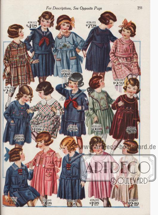 15 verschiedene Kleidchen für 2 bis 6-jährige Mädchen zu Preisen von 1,98 bis 8,98 Dollar. Die Mädchenkleider sind aus waschbarem Gingham, Woll-Baumwoll-Serge, Chambray, Baumwoll-Serge, kariertem Gingham, Samt oder grobem Juteleinen. Drei Modelle lehnen sich stark an Matrosenanzüge an und zeigen einem Kragen mit drei weißen Streifen. Die Kleider präsentieren Stickereien, aufgesetzte Taschen, eingelegte Falten, rundum plissierte Röckchen, kleine und große Schleifen oder auch Smokarbeit.