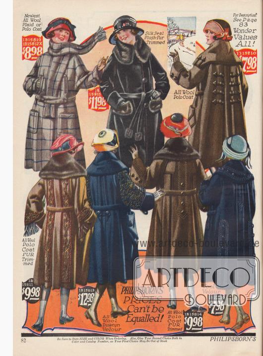 Mädchenmäntel aus Wolle und Woll-Velours zu etwas höheren Preisen und aufwendigerer Aufmachung als auf Seite 81. Die Preise rangieren zwischen 7,98 und 12,98 $.