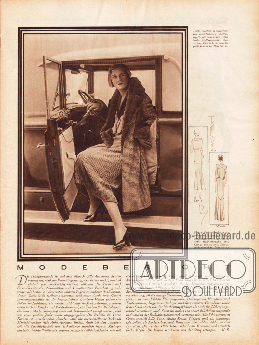 Artikel: R., K., Modebericht. Zum Artikel wird ein großformatiges Foto einer Dame im Kostüm am Steuer eines zweisitzigen Autos dargestellt, wie sie gerade aussteigt - ohne Bilderklärung. Die nebenstehenden Beschreibungen gehören zu den Modellen 5843 und 5844 auf der Titelseite des Heftes. Foto: unbekannt.