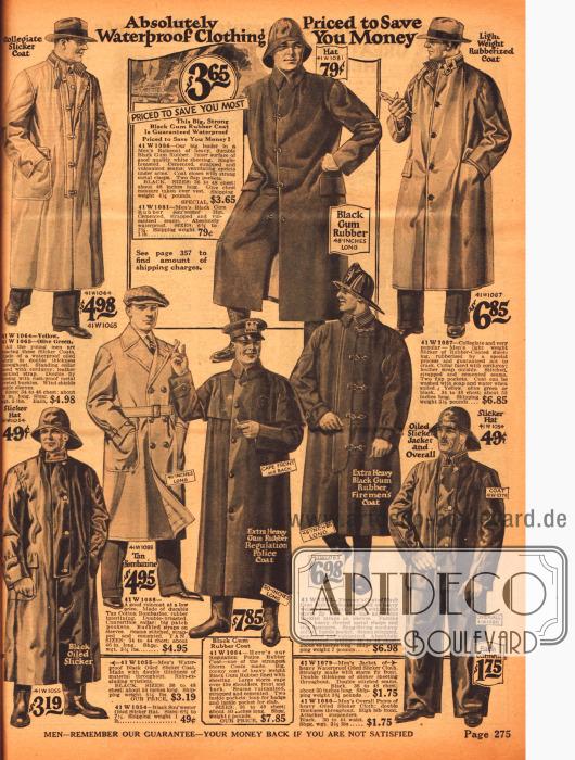 Regenmäntel und Regenhüte für Männer mit Knopf- und Schnallenverschlüssen. Auch Regenmäntel für Polizisten und Feuerwehrmänner sind im Angebot.