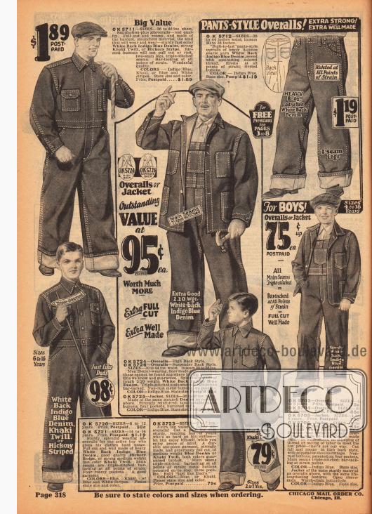 Arbeitsanzüge, Overalls und Arbeitshosen aus Jeansstoff (Denim) und Khaki für Jungen und Männer. Auffällig sind verstärkten Nähte und die vielen praktischen Taschen.