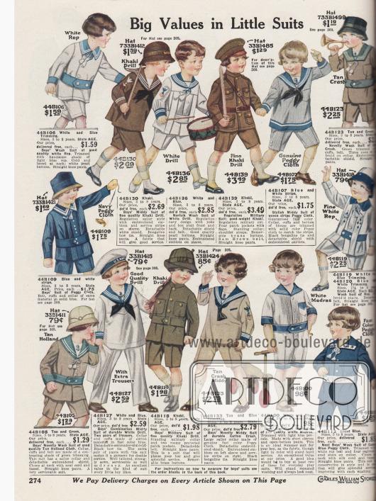 """""""Großes Preis-Leistungs-Verhältnis für kleine Anzüge"""" (engl. """"Big Values in Little Suits""""). Spielanzüge mit kurzen Hosenbeinen für Jungen im Alter von 2½ bis 8 Jahren. Die Anzüge zum Spielen, Raufen und Toben sind aus Rep (Stoff in Ripsbindung, meist Baumwolle), Khakigewebe, Drillich, """"Peggy Cloth"""" (?), """"Holland Cloth"""" (eng gewebter Leinenstoff), Madras und anderen Baumwollstoffen. Gerade Anzüge im Militär-, Marine- und Matrosenstil überwiegen."""