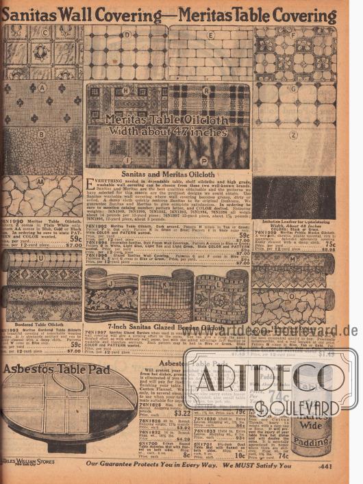 """""""Sanitas Wandbeläge – Meritas Tischdecken"""" (engl. """"Sanitas Wall Covering – Meritas Table Covering""""). Wandbeläge, Bordüren, Tischdecken und Tischüberzüge aus wasserabweisendem und leicht abwaschbarem Öl-, Wachstuch und Wachsleinwand für die Küche. Im unteren Seitenbereich werden Tischauflagen aus Asbest und Tischpolsterung zur Geräuschminimierung verkauft."""