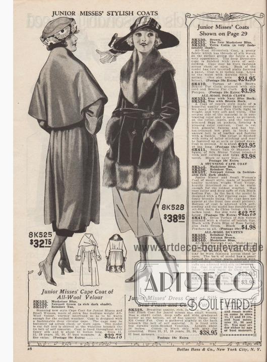 """""""Modische Mäntel für junge Frauen"""" (engl. """"Junior Misses' Stylish Coats""""). Wintermäntel zu Preisen von 32,75 und 38,95 Dollar für junge Damen im Alter von 15 bis 19 Jahren. 8K525 / 8K526 / 8K527: Herbstlicher Mantel mit überweitem Cape aus Woll-Velours, bestellbar in den Farben Musketier Blau, dunklem Newport Grün oder Rentier-Braun. Das kleidsame Cape kann offen oder geschlossen getragen werden. Unterhalb des Gürtel ist der Mantelstoff gerafft und Falten werfend arrangiert. Bunter Seidenstoff als Futter. 8K528: Dreiviertellanger Pelzmantel aus Webpelz mit Robbenfell-Textur (engl. """"Seal Plush""""). Schalkragen, Manschetten und Mantelunterseite sind mit maulwurfsgrauem Kaninchenfell reichhaltig verbrämt. Im Rücken unterhalb der Gürtellinie ist der Mantelstoff gerafft."""