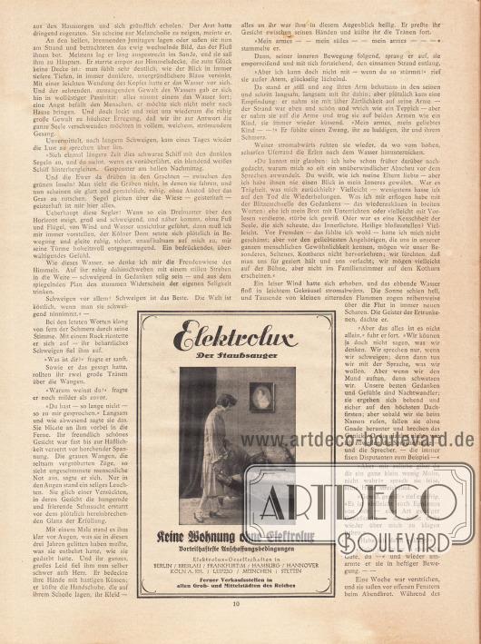 """Artikel: Ernst, Otto, Der Karthäuser. Skizze von Otto Ernst. Werbung: """"Elektrolux. Der Staubsauger. Keine Wohnung ohne Elektrolux – Vorteilhafte Anschaffungsbedingungen""""."""