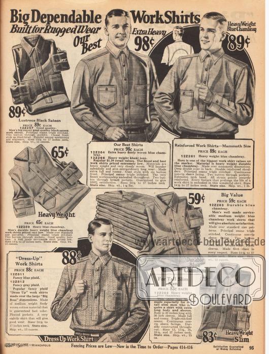 Langlebige Arbeitshemden mit Brusttaschen und verstärkten Nähten aus schwarzem Satin, schwerem, blauem Chambray, schwerem Khaki-Jeansstoff oder mittelschwerem, gemustertem Baumwollgewebe.