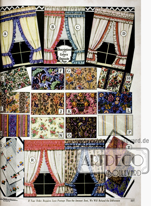 Küchenvorhänge mit farbigen Rüschen aus grobmaschigen Schleierstoffen (A-D, R, S) und Bezugsstoffe wie Cretonne, Rayon und Damast in unterschiedlichen Musterungen.