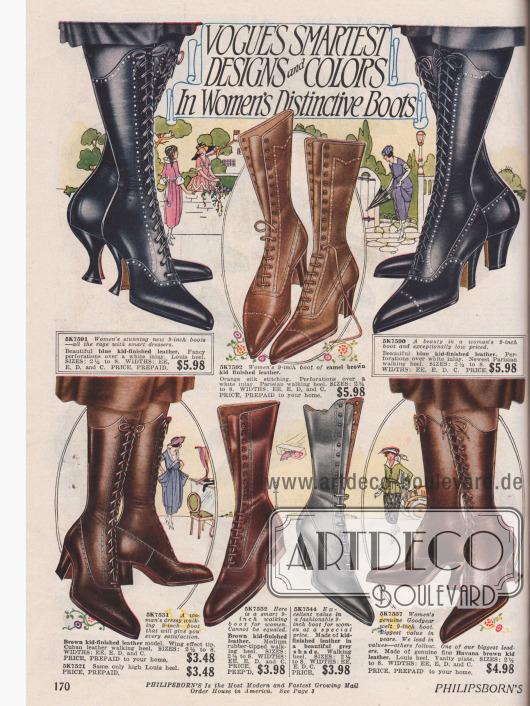 """Hoch geschlossene Damenschnürstiefel aus blauem, braunem oder grauen Ziegenleder und teils mit Gummisohle. Die Absätze sind im geschwungenen Louis XIV Stil oder werden als sogenannter """"Parisian walking heel"""" (Kubanische Absätze) an die Frau gebracht."""