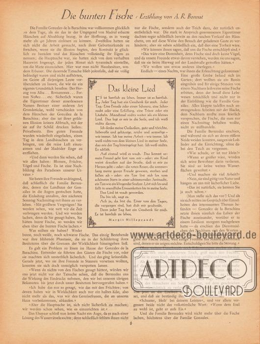 Artikel (Erzählung):Bonnat, A. R., Die bunten Fische&#x3B;Hilleprandt, Margit, Das kleine Lied.