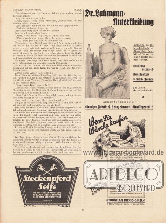 """Artikel: Scharrelmann, Wilhelm (1875-1950), Die drei Schwestern. Werbung: Steckenpferd Seife – """"Die beste Lilienmilchseife für zarte weisse Haut und blendend schönen Teint"""", Illustrator: (E. R.) Auchter-Arndt; Dr. Lahmann Unterkleidung, Fabrik H. Heinzelmann, Reutlingen M. 2; """"Wenn Sie Wäsche kaufen"""" Hausfrauentuch Treffer, Christian Dierig G. m. b. H., Oberlangenbielau in Schlesien."""