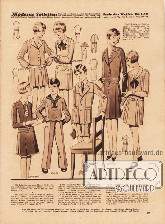4084: Schulkleid aus marineblauem Wollpopeline mit bleufarbenem Aufputz für Mädchen von 8 bis 12 Jahren. 4085: Kleid aus hellem Wollrips für Mädchen von 8 bis 12 Jahren. Die Stickereimotive im Strichstich sind mit roter Seide und Metallfaden ausgeführt. Kragen, Bündchen und Gürtel in Rot. 4086: Praktisches Kleid aus gestreiftem Wollstoff für Mädchen von 8 bis 12 Jahren. Der Effekt liegt in der verschiedenartigen Anordnung der Streifen. Einfarbige Garnitur. R 213: Kieler Anzug aus marineblauem Tuch für Knaben von 2 bis 8 Jahren. Blauer Leinenkragen, mit weißem Bändchen garniert. Die Ärmel sind unten durch Falten eingeengt. Schwarzer Schifferknoten. Schnitt für 2 bis 4 Jahre 40 Pf., für 4 bis 8 Jahre 75 Pf. R 227: Sportanzug aus grauem, gemustertem Wollstoff für Knaben von 10 bis 14 Jahren. Jacke mit vorderer Passenteilung und schlankem Reverskragen. 4087: Backfischkleid aus mittelblauem Wollrips für Mädchen von 14 bis 16 Jahren. Die Stickereiborte an Kragen, Aufschlägen und Tascheneingriffen ist in Pastelltönen gehalten. Vorn Knopfschluß. 4088: Praktisches Kleid aus rotem Diagonalwollstoff für Mädchen von 10 bis 14 Jahren. Die Kittelteile sind durch Falten unterbrochen. Weißer Kragen mit Bandschleife. Knopfverzierung.