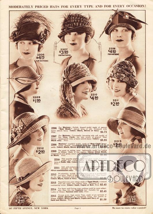 """Zehn kleidsame Damenhüte aus Pferdehaar, Visca-Schirmgeflecht, matt schimmerndem Strohgeflecht, Seiden-Spitze und Faille Seide, Brokat mit eingewebten Metallfäden, Tagal Stroh, """"Leghorn"""" (ein Stohgeflecht benannt nach der italienischen Stadt Livorno) und Velours-Duvetine.In der obersten Reihe befinden sich drei Modelle speziell für ältere Damen (Matronen). Verziert sind die gezeigten Hüte mit Straußenfedern, Borten, Federn aus Celluloid, schalartigen Bändern sowie künstlichen Früchten und Blattwerk."""