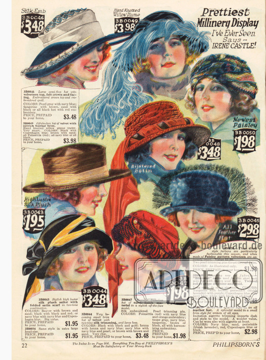 Kleidsame Damenhüte aus Seiden-Plüsch, Samt und Crêpe de Chine. Straußenfedern, Perlenstickereien und schalartige Hutverzierungen gehören zur Hutmode 1922-23. Der Druck ist aufgrund der nicht übereinanderliegenden Farben sehr unscharf.