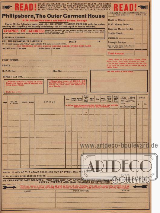 Bestellschein zur Angabe von Adresse, gewünschten Artikel und der präferierten Zahlungsmethode.