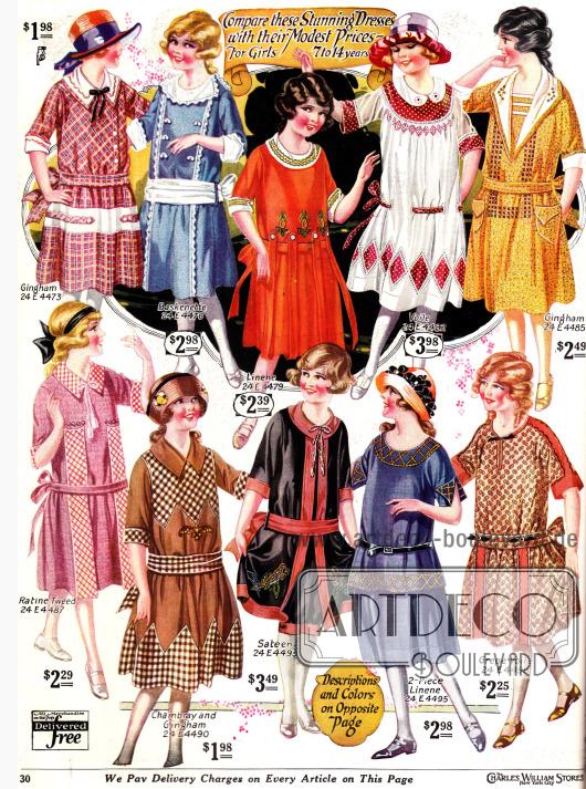 Kleider für Mädchen bis 14 Jahre. Diese sind in der Aufmachung der Mode der Großen nahezu identisch.