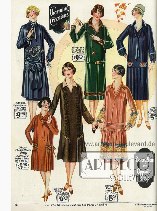 Damenkleider aus besticktem Seiden Krepp, Woll-Krepp, Samt mit Pelzberandung und Rayon Krepp werden hier zu moderaten Preisen präsentiert. Ein Kleidchen für Mädchen bis 14 Jahre aus reiner Wolle ist unten links.
