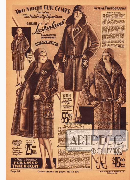 Ein Wintermantel für Frauen aus Woll-Tweed und zwei Mäntel aus feinstem, kurzem Lammfell. Während der Tweedmantel mit gefärbtem Kaninchenpelz gefüttert ist und 25,00 Dollar kostet, kosten die beiden Lammfellmäntel schon 45,00 und 55,00 Dollar.