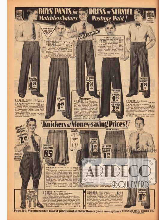 Lange Bundfaltenhosen (Anzughosen) aus Wolle, Kaschmir-Wolle, Woll-Serge und Kord sowie kurze Sport-, Reit- und Arbeitshosen aus denselben Stoffen für Jungen zwischen 4 und 16 Jahre.