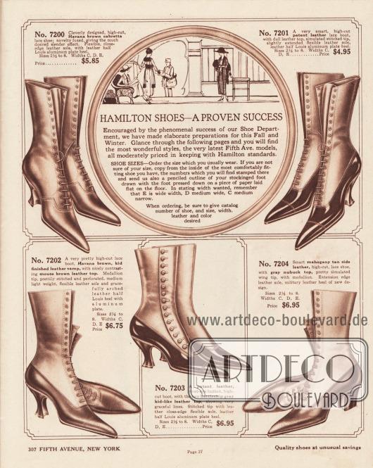 """""""Hamilton Schuhe – Ein erwiesener Erfolg"""" (engl. """"Hamilton Shoes – A Proven Success""""). Hochpreisige Damenstiefeletten zum Schnüren aus """"Cabretta"""" (südamerikanisches Haarschaffell), Lackleder oder Chevreauleder (Ziegenleder). Die Stiefelschäfte sind ebenfalls aus diesen Ledern oder Nubuk-Leder (Rau- bzw. Veloursleder). Die erhältlichen Farben sind Hellbraun, Braun, Havannabraun oder Schwarz. Die Schuhkappen sind spitz zulaufend und bei den Absätzen sind geschwungene Louis XIV Absätze und einmal dicke, breite Militärabsätze ausmachbar. Ein Schuhmodell mit seitlicher Knöpfung. Die Damenschuhe können zudem in verschiedenen Breiten (E, sehr breit; D, mittelbreit; C mittel schmal) bestellt werden."""