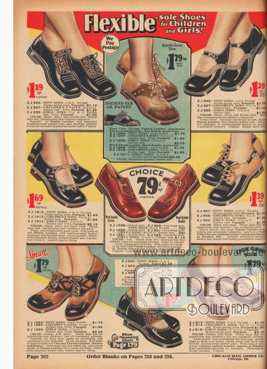 """""""Schuhe mit flexiblen Sohlen für Kinder und Mädchen!"""" (engl. """"Flexible-Sole Shoes for Children and Girls!""""). Schuhe mit flachen Absätzen aus Lackleder, chromgegerbtem Hirschleder, Kalbs- bzw. Rindsleder oder reptilienartig genarbtem Leder für 2 bis etwa 10-jährige Kleinkinder und Mädchen. Die Schnallenschuhe und Oxford-Modelle sind teilweise mit verschiedenfarbigen Ledersorten kombiniert und mit weichen, schmiegsamen Sohlen, Zierstichen oder Perforationen ausgestattet."""