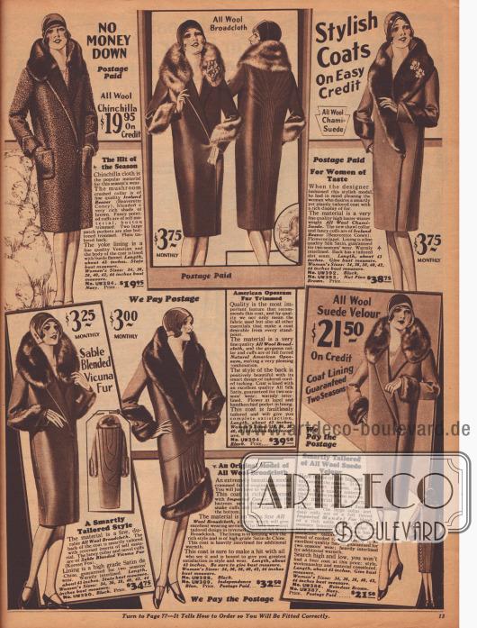 """""""Stilvolle Mäntel – Zu günstigen Kreditkonditionen"""" (engl. """"Stylish Coats – On Easy Credit""""). Elegante Wintermäntel aus Woll-Chinchilla, Woll-Breitgewebe oder Woll-Velours (""""Wool Chami-Suede"""") zu Preisen von 19,95 bis 39,50 Dollar für modebewusste Damen. Als Pelzverbrämungen wurden auf Biber gearbeitetes Kaninchen, amerikanisches Opossum, koreanischer Fuchs (""""Sable Blended Vicuna Fur""""), importiertes Kaninchen oder chinesisches Schaf (""""Mandel fur"""") verarbeitet. Als Futterstoffe dienen """"Venetian"""" (?), Seiden-Satin, Satin de Chine oder Satin. Ziernähte und Paspeln bilden dekorative Muster zumeist in der Rückenpartie."""