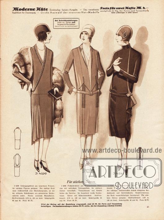 4239: Übergangskleid aus teegrünem Frisette, für stärkere Figuren geeignet. Der zipfelige Rock zeigt rechtsseitlich eine Säumchengruppe, an der der schlanke Schalkragen aus gemusterter Stickereiborte endet. Hierzu passende Manschetten. 4240: Frühjahrskleid aus modefarbenem Wollrips mit seitlichem Teilungseffekt, für stärkere Damen vorteilhaft. Tressenbesatz und Knöpfe bilden die Garnitur. Im Ausschnitt weiße Seidenweste. Gürtel mit Schnallenschluss. 4241: Hochgeschlossenes Kleid aus dunkelblauem Wollrips mit schwarzer Tressengarnitur. Am schrägen linksseitlichen Schluss blaugrüne Seidenblende und Gürtelschnalle. Knopfverzierung. Am Rock wasserfallartiger Garniturteil. Für stärkere Damen geeignet.