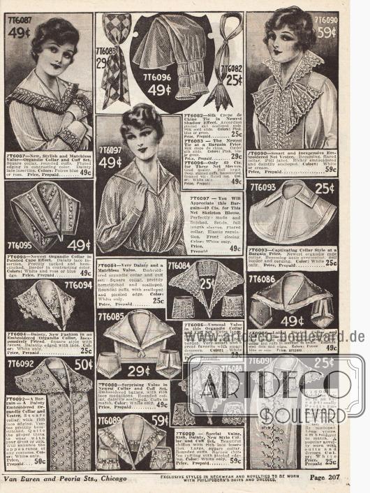 Kleidergarnituren zum Aufhübschen der selbstgenähten Kleidung. Darunter befinden sich capeartige Kragen, Jabots, Ärmelaufschläge, Hemdkrausen, Überärmel, Krawatten und eine Bluse aus grobem Netzstoff. Die Garnituren sind aus Organdy, Batist, Chiffon und Spitze.