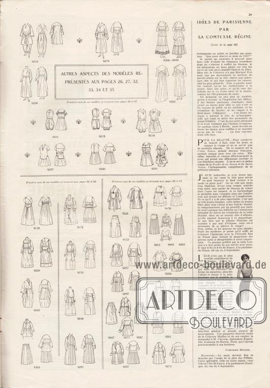 Artikel: Comtesse Régine, Idées de parisienne par la comtesse régine. Auf dieser Seite befinden sich die Vorder- sowie die Rückansichten der Modelle der Seiten 26-27 und 32-35.