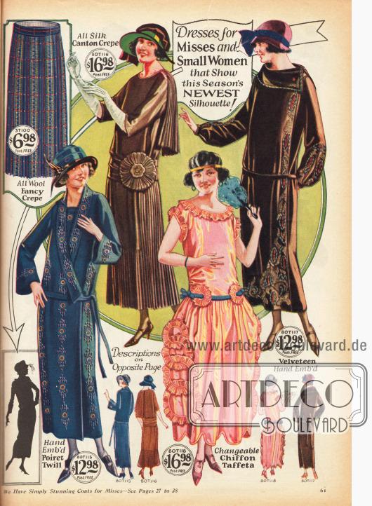 """Kleider für junge und kleine Frauen in der """"neuesten Silhouette der Saison"""". Das Stilkleid in lachsrosafarbenem Chiffon-Taft ist der Schick der Abendmode 1923."""