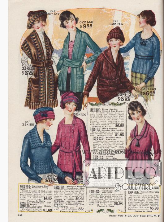 """Strickjacken (Cardigans), Strickpullover, Strickmützen und ein breiter Schal-Umhang zu Preisen von 85 Cent bis 9,98 Dollar für junge Frauen und Damen. Die gestrickten Kleidungsstücke sind aus gekämmter Zephir-Wolle, gekämmter Angora-Wolle, hochwertigem Wollgarn mit geringem Anteil von Baumwolle und anderen Wollgarnen. Die Pullover zeigen breit gerippte oder Falten werfend gearbeitete Schöße. Modell 32K158 ist ein lang gearbeiteter Kasack-Pullover mit Strickgürtel. Der breite, gestrickte Schalumhang 32K135 / 32K136 ist ohne Ärmel, aber mit Taschen und langen Quasten mit Fransen gearbeitet. Pullover 32K140 mit breitem Smoking-Kragen (engl. """"Tuxedo collar""""). Unter den Strickmützen befinden sich Modelle, die sich an Schotten- und Hockeymützen oder Turbane anlehnen."""