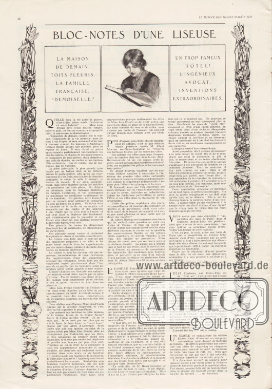 Artikel: O. V., Bloc-Notes d'une Liseuse (La maison de demain, toits fleuris, la famille française, 'demoiselle', un trop fameux hôtel!, l'ingénieux avocat, inventions extraordinaires).