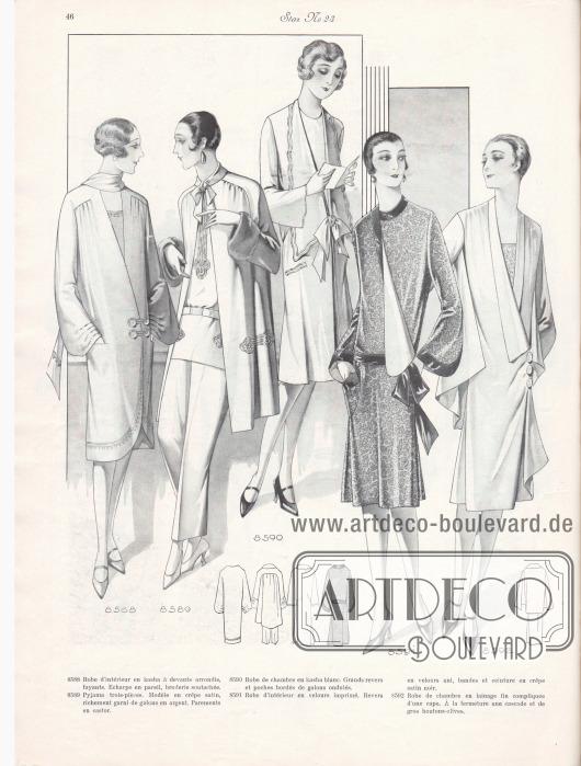 8588: Robe d'intérieur en kasha à devants arrondis, fuyants. Echarpe en pareil, broderie soutachée. 8589: Pyjama trois-pièces. Modèle en crêpe satin, richement garni de galons en argent. Parements en castor. 8590: Robe de chambre en kasha blanc. Grands revers et poches bordés de galons ondulés. 8591: Robe d'intérieur en velours imprimé. Revers en velours uni, bandes et ceinture en crêpe satin noir. 8592: Robe de chambre en lainage fin compliquée d'une cape. À la fermeture une cascade et de gros boutons-olives.
