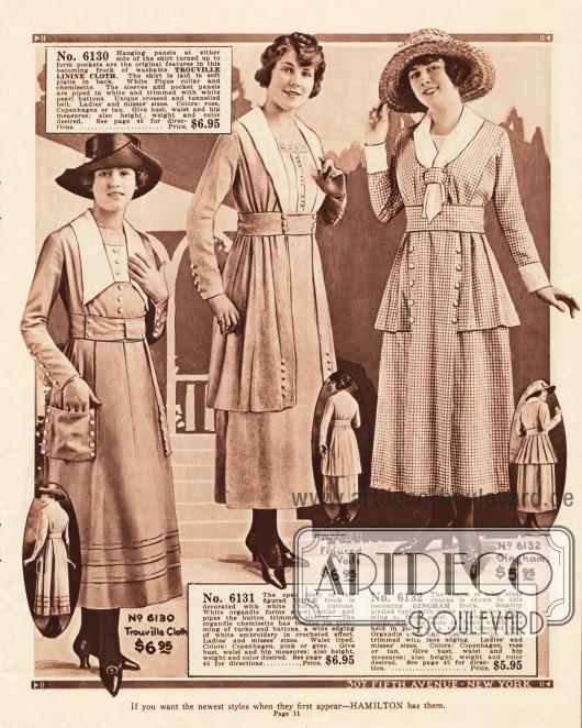 Preiswerte Sommerkleider aus Trouville Leinenstoff, Schleierstoff und kariertem Gingham für 5,95 oder 6,95 Dollar. Auffallend an allen Kleidern sind die zierlichen Knopfleisten und jackenartigen Tuniken (zweites und drittes Modell).