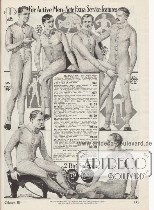 """""""Für aktive Männer – Beachten Sie die zusätzlichen Eigenschaften"""" (engl. """"For Active Men – Note Extra Service Features""""). Herrenunterwäsche. Einteilige Hemdhosen aus elastisch gerippten und gekämmten Baumwollgeweben mit langen Armen und Beinen sowie mit Knopffront. Die Schultern sind militärisch verstärkt (engl. """"military shoulders"""") und die Nähte flach gewebt für komfortables Tragen. Die Gewebequalitäten reichen von durchschnittlich bis schwer und dick. Die Modelle besitzen einen praktischen, breiten Klappsitz."""