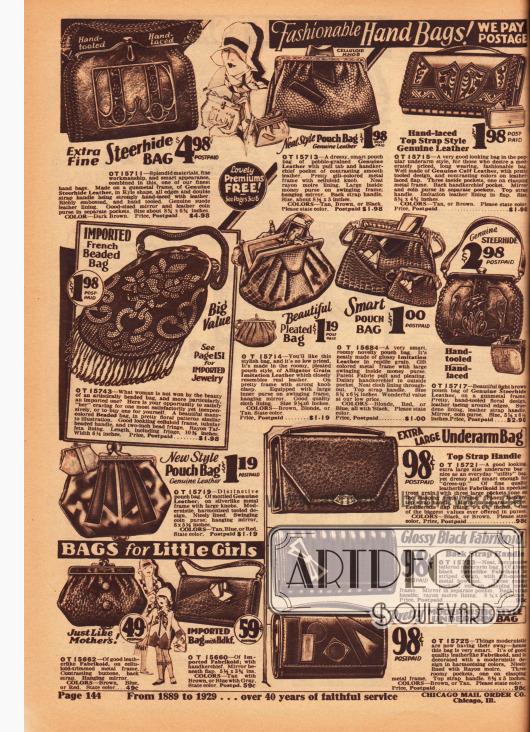 """Seite mit Damenhandtaschen. Rahmenhandtaschen mit und ohne Tragegriff aus echtem Leder und aus Lederimitaten (bsp. Krokodilleder). Links in der Mitte wird eine aus Frankreich importierte und mit Perlen bestickte Tasche präsentiert. Darunter befinden sich ein """"Pouch Bag"""" sowie kleine Handtaschen für Mädchen. Rechts daneben sind Geldbörsen abgebildet."""