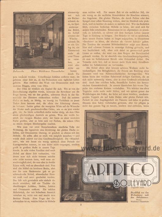 """Artikel: Neumann, Dr. R., Vom schönen Wohnen. Drei Fotografien bebildern den Text. Die Fotografien haben die Bildunterschriften """"Salonecke"""", """"Schlafzimmer"""" und """"Durchblick von dem Wohnzimmer nach dem Schlafzimmer"""". Fotos: Waldemar [Franz Hermann] Titzenthaler (1869-1937)."""