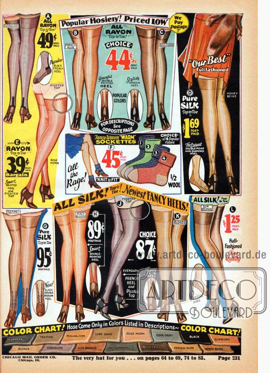 Damenstümpfe aus günstigem Rayon oder teurer Seide (siehe oben rechts). Die Farbtafel unten zeigt die bestellbaren Farbnuancen der Stümpfe und auch gleichzeitig die aktuell modernen Herbstfarben. In der Mitte werden zudem Knöchelsöckchen aus Baumwolle und Wolle für Frauen angeboten.
