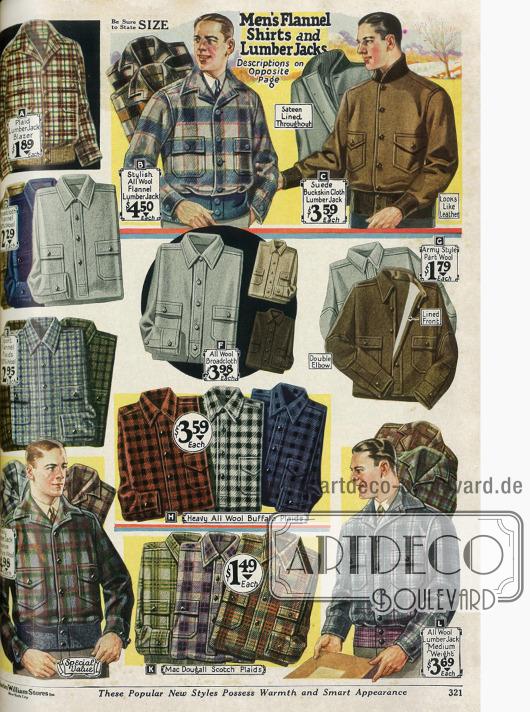 Hemden aus schweren Stoffen wie Wolle und Flanell sowie Lumberjacks (Holzfällerjacken) aus Wollstoffen.