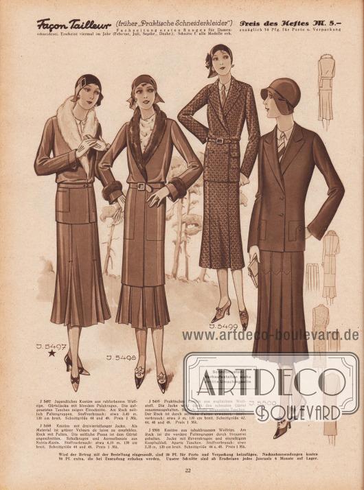 """Praktische Kostüme aus Wollrips, grünem Velours de laine, englischem Wollstoff und tabakbraunem Wollrips.Die erste Jacke zeigt blonden Pelzbesatz während die zweite dreiviertellange Jacke mit """"Nutria-Kanin"""" (Bieberratte und Kaninchen) verbrämt ist. Die aufgesetzten Taschen sind unterschiedlich verarbeitet. Die Kostümjacke rechts außen wird auf einer einreihigen Knopfleiste geschlossen. Seitliche Faltengruppen und eingearbeitete Falten geben Bewegungsfreiheit."""