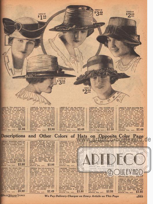 """Fünf Sommerhüte für Damen. Hergestellt sind die Damenhüte aus """"Chip Straw"""" (kein Stroh, sondern feine Holzfasern – robust aber wenig flexibel), Satin-Georgette Krepp, Satin und Gold- oder Silberspitze sowie Hochglanzstroh. Kunstvoll drapierte Samtbänder mit Schleife und Seidenschließe, Bündel aus Samt-Astern mit künstlichem Blattwerk, schmale oder breite Ripsbänder, glänzendes Seidenband oder Kränze aus seidenen Rosenknospen, Vergissmeinnicht aus Samt oder echt aussehendes Laub zieren die Hutmodelle. Drei breitkrempige Ausführungen, ein Hut in Schuten-Form sowie ein Hut im """"Continental Shape"""" (16B212) sind die gezeigten Hutformen, die hier zu sehen sind."""