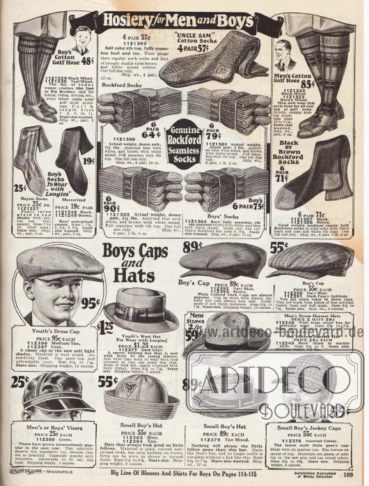 Oben: Socken und knielange Strümpfe aus Baumwollgeweben für Sport und Freizeit für Jungen und Männer. In der Mitte befinden sich Socken der Marken Uncle Sam und Rockford.Unten: Hüte, Schiebermützen, Matrosenmützen und Kappen für kleine und größere Jungen. Die Mützen und Hüte sind aus Wollmischgewebe, Woll-Filz, Kaschmir und merzerisiertem Geweben. Zudem ein Visor mit Schirm für Jungen und Männer sowie ein Jockey Cap nur für Jungen.