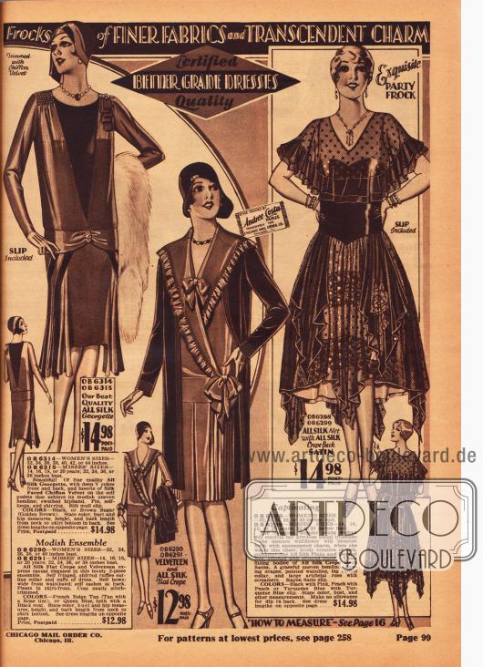 Ein elegantes Nachmittagskleid aus Seiden-Georgette, ein Nachmittagsensemble aus Samt und Seiden Krepp sowie ein verspieltes Ballkleid aus Seiden-Satin Krepp und viel Netzstoff. Das erste Kleid zeigt einen verlängerten Rocksaum und einen tiefen V-förmigen, dunklen Westeneinsatz. Das zweite Kleid präsentiert einen breiten und langgezogenen Kragen mit Rüsche sowie Schleifen am Ausschnitt und an der Hüfte. Das dritte Kleid ist ein Stilkleid mit sehr weitem Rock, punktuell verlängertem Saum, enger Taillierung und einem weiten Cape.