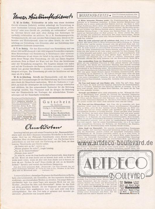 """Artikel: O. V., Unser Auskunftsdienst; O. V., Anekdoten; O. V., Wissenswertes. Werbung: 12. Ausstellung """"Nadel und Schere"""" vom 2. bis 6. September 1933 im Saalbau Friedrichshain in Berlin; Samthaus Schmidt, Hannover 16."""