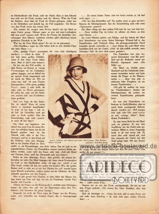 """Artikel:Ettlinger, Karl, Mein Frack.Im Zentrum der Seite befindet sich eine Modefotografie mit der Bildunterschrift """"Aparter hellgrau und schwarz gestrickter Sport-Jumper (Yola Garden). Modell: Staub"""".Foto: Atelier Balázs, Berlin."""