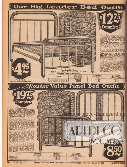 Günstige Einzelbetten aus Metall (lackiert in Braun, Elfenbein oder Holzoptik), Sprungfedern aus Metall und Matratzen. Alle Teile sind getrennt oder zusammen bestellbar.